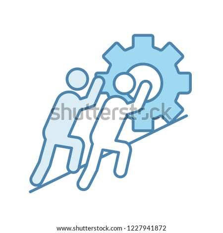 Teamwork color icon. Team. Partnership. Two businessmen pushing cogwheel up. Join efforts. Isolated vector illustration