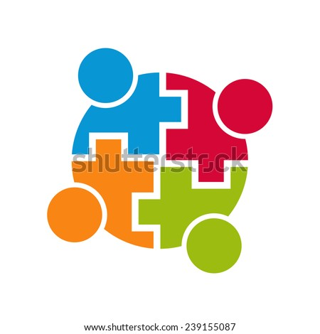Teamwork community logo connection. Group of 4 people. Vector design