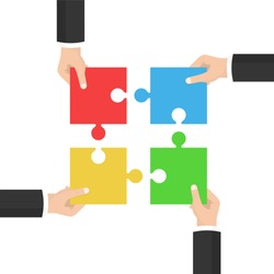 Teamwork concept. Businessmen holding a jigsaw puzzle. Strategy and solution. Cooperation, combining. Vector illustration