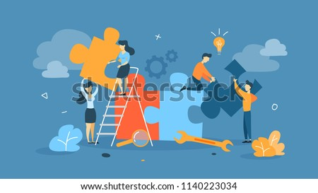 Teamwork concept. Businessmen working together and moving towards success. People with giant puzzle pieces. Idea of partnership and collaboration. Flat vector illustration