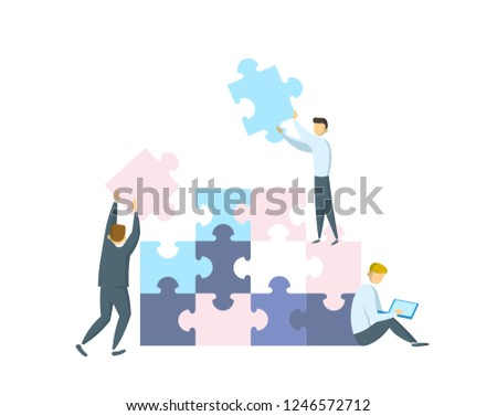 Teamwork concept. Businessmen working together and moving towards success. People with giant puzzle pieces. Partnership and collaboration. Flat vector illustration. Isolated on white background.
