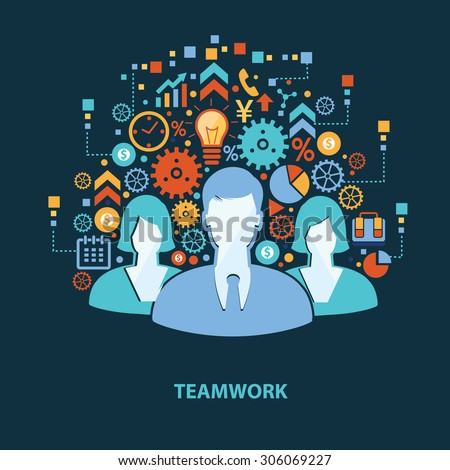 teamwork concept design on dark
