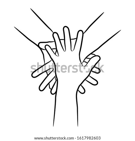Teamwork, concept of cooperation. Hands diverse people putting together from the contour black brush lines different thickness on white background. Unity, togetherness, partnership.