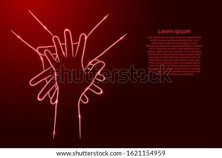 Teamwork, concept of cooperation. Hands diverse people putting together from the contour red brush lines different thickness and glowing stars on dark background. Unity, togetherness, partnership.