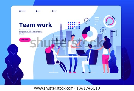 Teamwork concept. People working together smart business solution outsourcing business construction clipart vector landing page