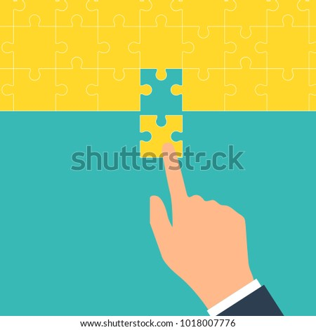 Teamwork concept. Puzzle holding in hands businessman connecting. Vector illustration flat style design. Cooperation, partnership. Combining two pieces. Symbol of working together. Business metaphor.