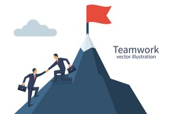 Teamwork concept. Two businessmen together rise on mountain with flag. Give help hand. Collaboration concept. Vector flat design. Isolated on background. Business people work together to achieve goal