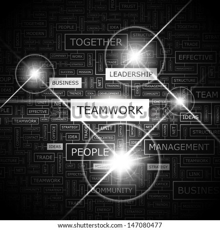 TEAMWORK. Concept vector illustration. Word cloud with related tags and terms. Graphic tag collection. Wordcloud collage.
