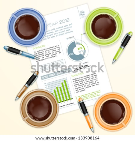 Teamwork Concept with Company Report Coffee Cups and Pens vector illustration