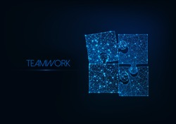 Teamwork concept with four glowing low poly jigsaw puzzle pieces on dark blue background. Futuristic wireframe design vector illustration.