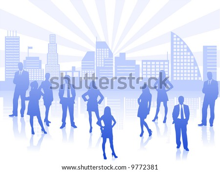 teamwork concept with lots of business people vectos silhouettes