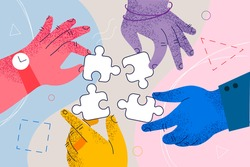 Teamwork, cooperation, business collaboration concept. Hands of business people partners trying to connect puzzle pieces at office as meaning of successful teamwork and common projects illustration