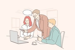 Teamwork, coworking, business, analysis, meeting concept. Team businessmen woman clerks managers coworkers negotiating working in office. Collective discussion planning and brainstorming illustration.