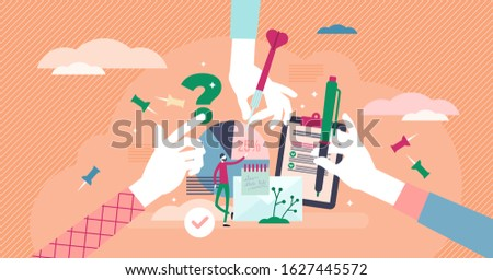 Teamwork dealing with common tasks concept, tiny person vector illustration. Office objects like notes and graphs with people hands. Mutual goals and putting strengths together for productive work.