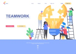 Teamwork flat landing page template. Group of people together building idea lightbulb from puzzle elements situation. Web page with people characters. Partnership and collaboration vector illustration
