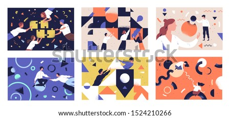 Teamwork flat vector illustrations set. Coworkers characters communication. Team building and business partnership concepts. Businessmen people and geometrical shapes cooperation, collaboration.