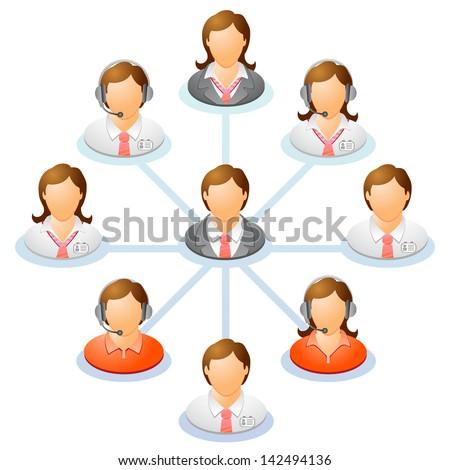 teamwork flow chart network of