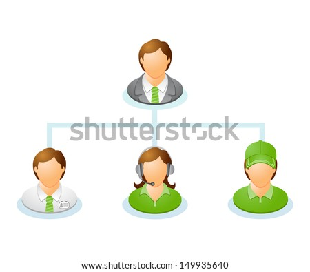 Teamwork flow chart. Network of people. The hierarchical diagram. The hierarchical organization management system. Vector illustration.