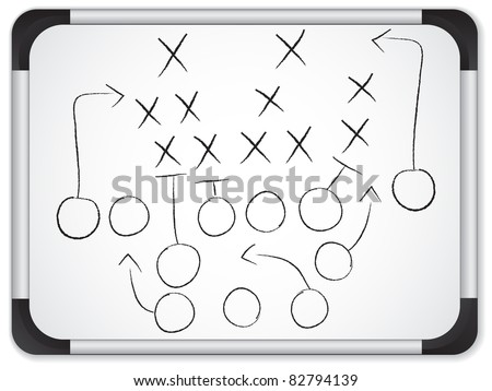 Teamwork Football Game Plan Strategy on Whiteboard - stock vector