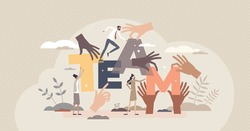 Teamwork hands as group holding team letters together tiny person concept. Community partnership and cooperation for common goal and job vector illustration. Employees connection and collaboration.