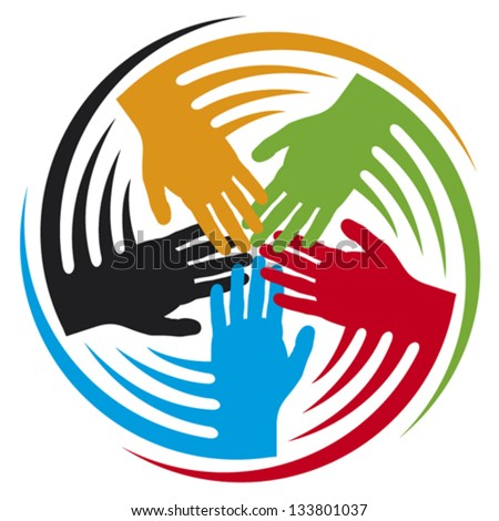 teamwork hands icon (people connected symbol)