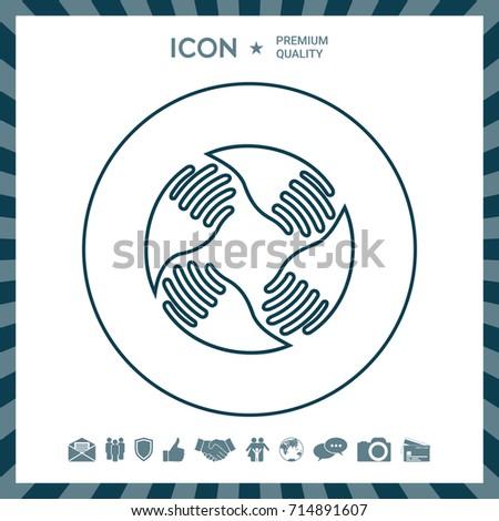 Teamwork Hands Logo. Human connection. Line icon #714891607