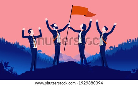 Teamwork happiness - Group of business people standing on hill celebrating with arms in air and victory flag in hands. Team spirit and unity concept. Vector illustration. Сток-фото ©