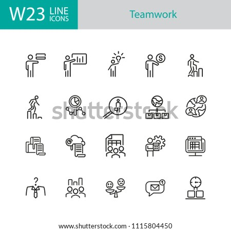 Teamwork icons. Set of twenty line icons. Head hunting, presentation, new idea. Teamwork concept. Vector illustration can be used for topics like management, leadership, career promotion. #1115804450