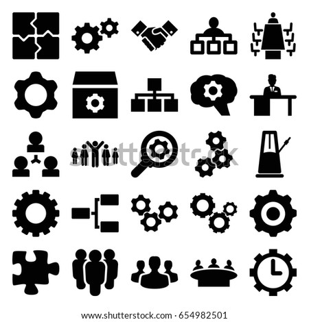 Teamwork icons set. set of 25 teamwork filled icons such as gear, structure, puzzle, group, man working at the table, meeting, clock in gear, handshake, user group