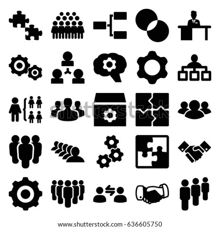 Teamwork icons set. set of 25 teamwork filled icons such as handshake, structure, group, puzzle, gear, circle intersection, man working at the table, user group