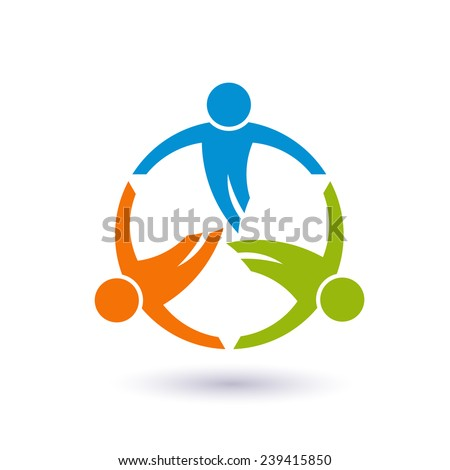 Teamwork in a round logo. Group of 3 people Vector design