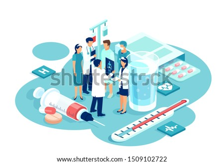 Teamwork in health care system concept. Vector of group of doctors of different subspecialties brainstorming patient diagnosis and treatment options