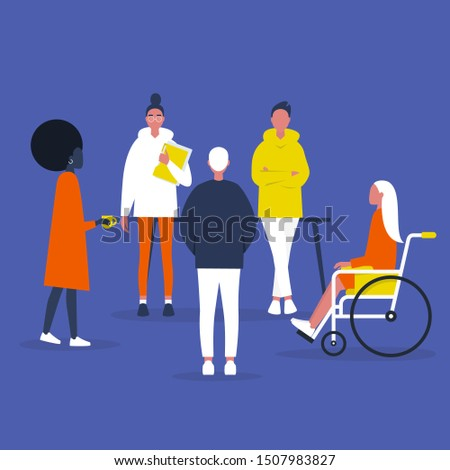 Teamwork. Inclusive society. Office meeting. Modern company. Diversity. Flat editable vector illustration, clip art