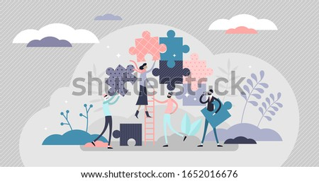 Teamwork jigsaw puzzle concept, flat tiny persons vector illustration. Stylized group work activity by assembling abstract project parts. Business partnership or startup team bonded relationships.