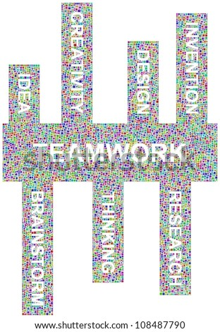 Teamwork keywords in a mosaic of little colored squares