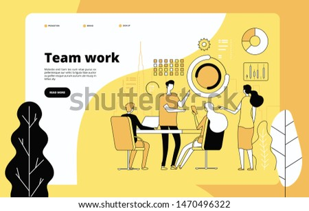 Teamwork landing page. Employees working together. Data analysis, effective professional cooperation. Startup vector web template. Illustration cooperation teamwork, web site, effective startup