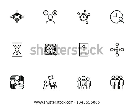 Teamwork line icon set. Team, leadership, timing. Business concept. Can be used for topics like deadline, unity, collaboration
