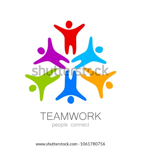Teamwork logo. Social, partnership, communication design. Business team union concept icon on white background. Vector illustration.