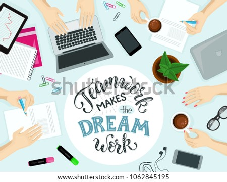 Teamwork makes the dream work lettering. Business meeting vector illustration. Group of people working around the table in the office. Successful teamwork concept.