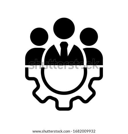 Teamwork management icon or business team or partnership icon in black on an isolated white background. The staff of the organization or the head of the company. EPS 10 vector.