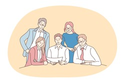 Teamwork, negotiations, business communication concept. Young smiling business people office workers partners cartoon characters sitting in office and discussing corporate project or startup together