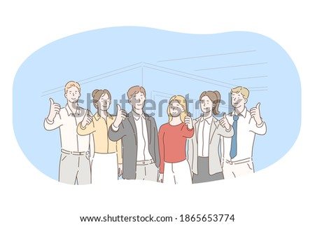 Teamwork, negotiations, success in office concept. Group of Business partners office workers standing and showing successful thunk up sign together after negotiations or brainstorming