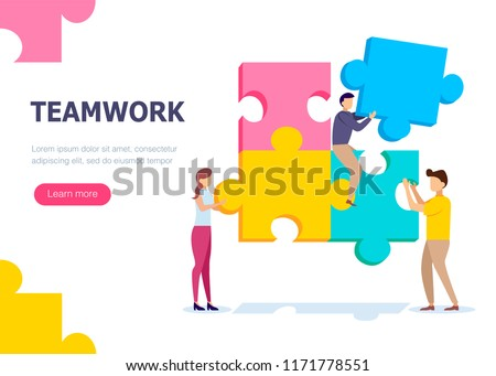 Teamwork of people that collect a puzzle. Concept for infographics, web banner. Flat isometric vector illustration.