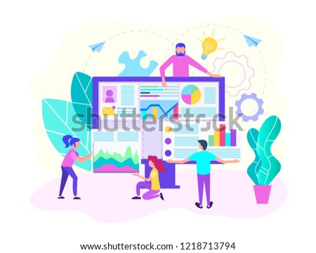 Teamwork of web designers, programmers, web analysts to create a web site design. Recruting , HR analitics concept. Vector illustration for web-design.