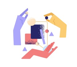 Teamwork, partnership and interaction concept. Hands interacting and building business system. Team creating smth. from abstract shapes together. Flat vector illustration isolated on white background