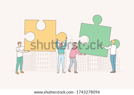 Teamwork, partnership, cooperation, business concept. Working enterprise collaboration mutual assistance. Team of businessmen woman partners coworkers collect jigsaw puzzles finding solution together.