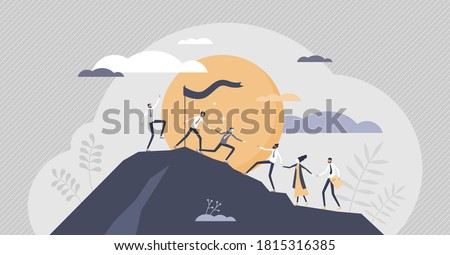 Teamwork partnership with business team assistance help tiny persons concept. Target reaching as company employee challenge to climb to mountain together with unity and cooperation vector illustration