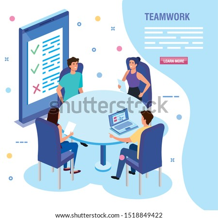 teamwork people in meeting avatar character