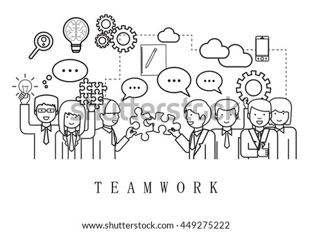 Teamwork, People Team-On White Background-Vector Illustration, Graphic Design. Business Concept For Web,Websites,Magazine Page,Print Materials