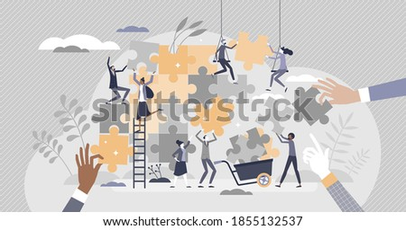 Teamwork puzzle as effective team collaboration process tiny person concept. Active, busy and dynamic assistance help and control scene with group and individual duties and tasks vector illustration.